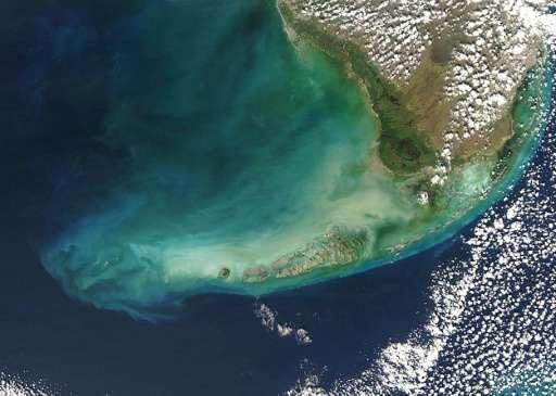 NASA Aqua Satellite image of southern Florida and the Florida Keys