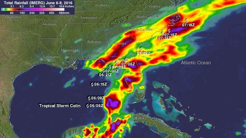 NASA examined Tropical Storm Colin's heavy rainfall from space