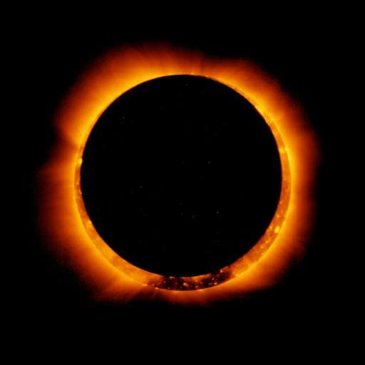 """NASA image taken May 20, 2012 shows """"ring of fire"""" as the Moon moves into a full eclipse position"""
