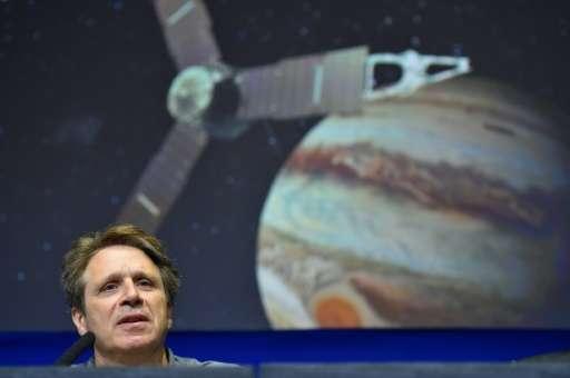 NASA Juno Mission Principal Investigator Scott Bolton speaks at a press conference at the Jet Propulsion Laboratory (JPL) in Pas