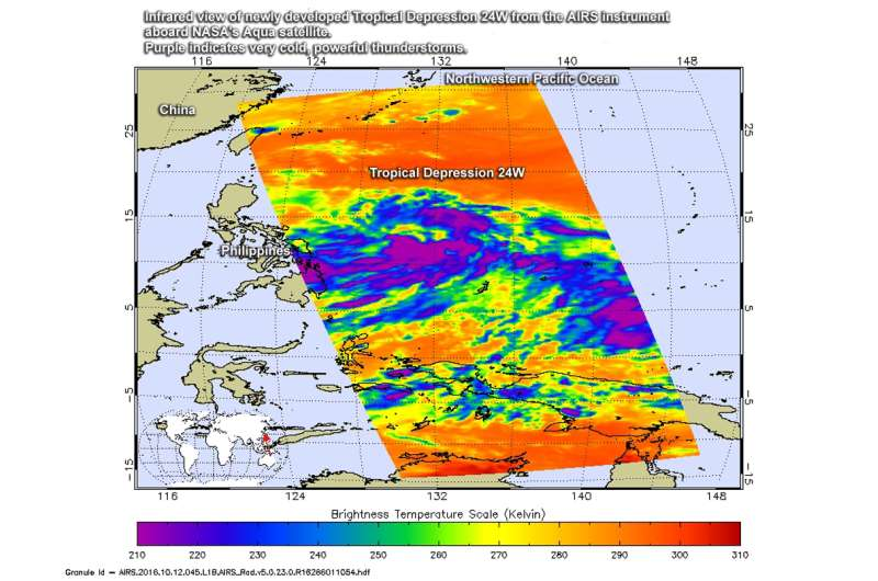 NASA spots newly developed Tropical Depression 24W, east of Philippines