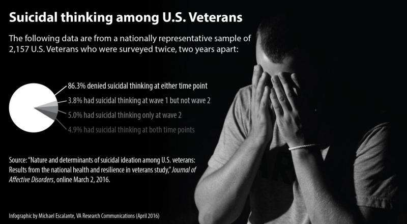 New study reports on suicidal thinking among US veterans