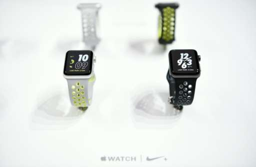 Nike Apple smartwatches are seen on display during Apple media event in San Francisco