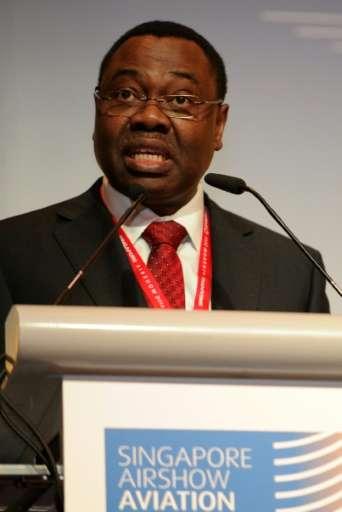 Olumuyiwa Benard Aliu, president of the council of the International Civil Aviation Organization (ICAO), speaks at the Singapore