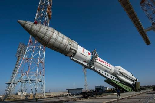 Picture released by the European Space Agency shows the Russian Proton rocket that will launch the ExoMars 2016 spacecraft durin