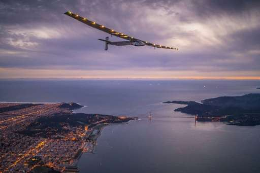 """Solar Impulse 2"", piloted by Swiss adventurer Bertrand Piccard, flies over the Golden Gate bridge in San Francisco, C"