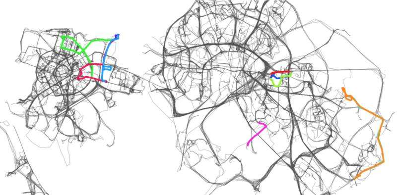 Recalculating! By not driving the optimal route, you're causing traffic jams
