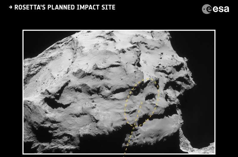Rosetta's descent towards region of active pits