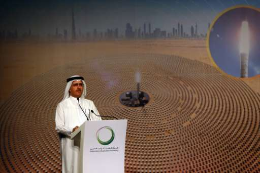 Saeed al-Tayer, managing director and CEO of Dubai Electricity and Water Authority (DEWA) speaks during a press conference in Du