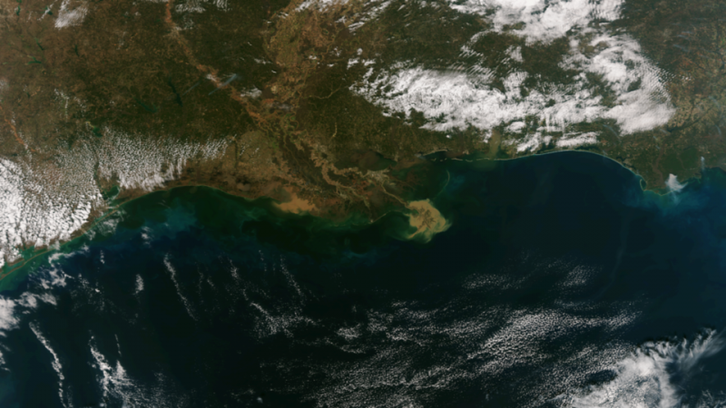 Sediment discharge from Mississippi River - CREDIT NOAA