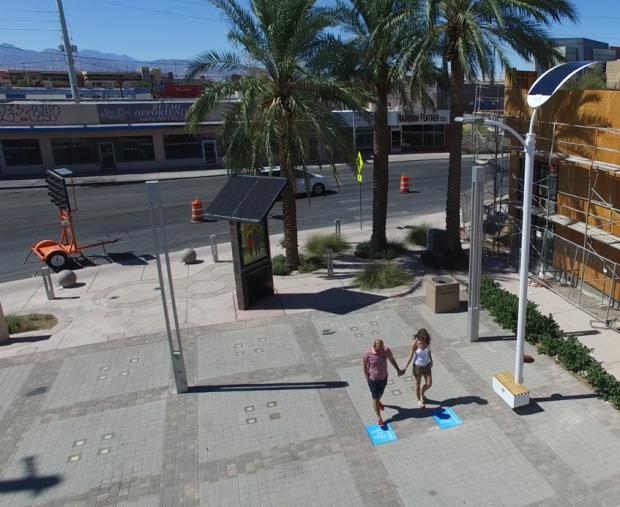Solar power, kinetic energy turn on streetlights in Vegas plaza