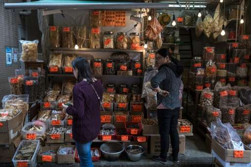 Some shops in Hong Kong's bustling Sheung Wan area sell totoaba swim bladders, or maw