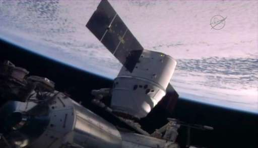 SpaceX's Dragon, pictured on July 20, 2016 at the International Space Station, is the only cargo carrier in use that can return