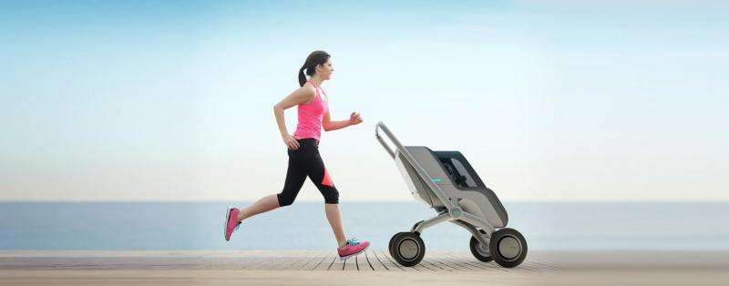 Stroller can move itself, play lullaby while parent enjoys run