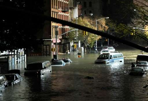 Submerged cars are seen in Manhattan, New York, after severe flooding caused by Hurricane Sandy, in October 2012