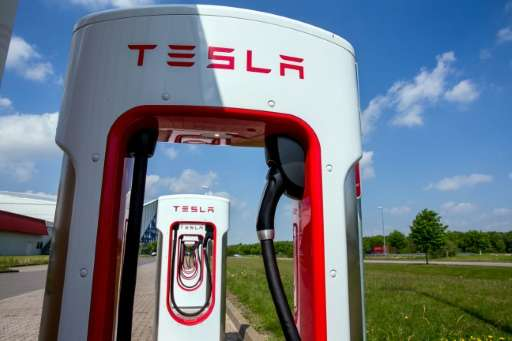 Tesla charging stations for electric cars are pictured in Wittenburg, northeastern Germany, on May 18, 2016