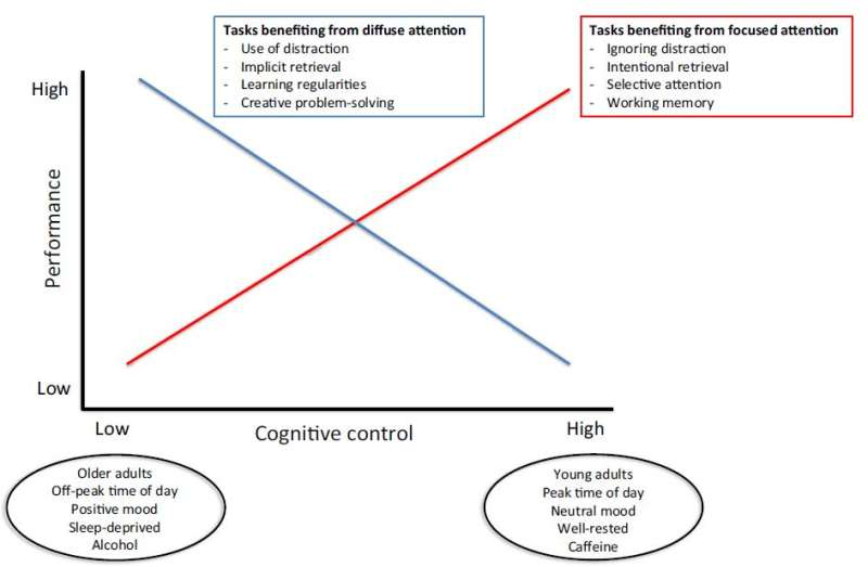 The aging brain benefits from distraction