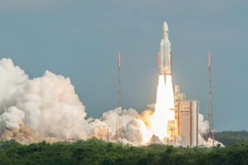 The Ariane 5 rocket with a payload of four Galileo satellites blasts off from the ESA's Spaceport in Kourou, French Guiana, on N