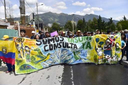 The Ecuadorian government defied calls from activists to put the decision to drill inside the Yasuni national park to a referend