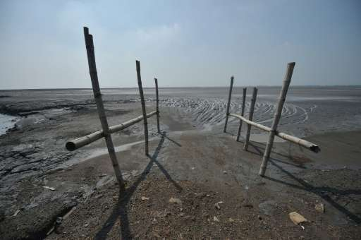 The mud volcano area in Indonesia's East Java has been declared a disaster zone and sealed off, with warning signs dotting the p