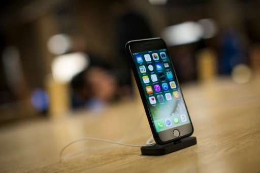 The new iPhone 7 is displayed on a table at an Apple store in Manhattan on September 16, 2016 in New York City