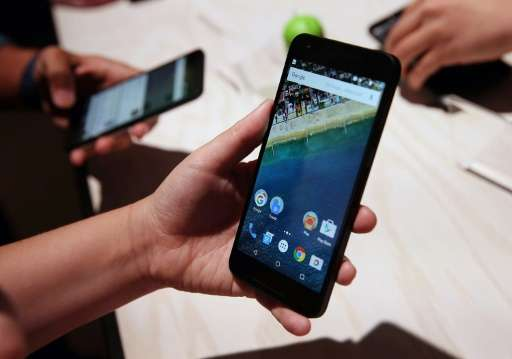 The Nexus 5X phone seen during a Google media event on September 29, 2015 in San Francisco, Google is using its massive computin