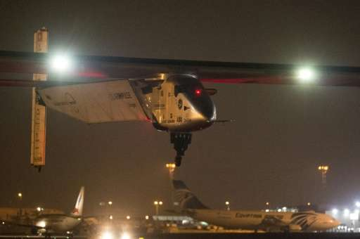 The solar-powered Solar Impulse 2 takes off from Cairo International Airport in the Egyptian capital on July 24, 2016 as it head