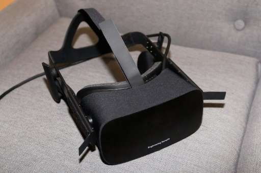 The virtual reality head-mounted display Oculus Rift CV1 is pictured on June 16, 2015 in Los Angeles, California