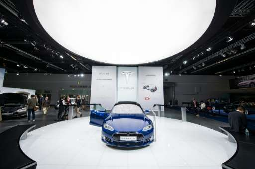 This file photo taken on September 16, 2015 shows the Model S of US electric cars manufacturer Tesla Motors during a press day o
