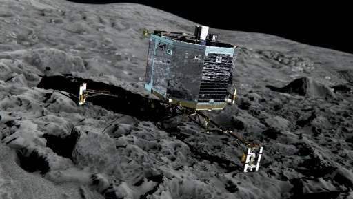 This handout from the European Space Agency shows an artist's impression of Rosetta's lander Philae on the surface of comet 67P/