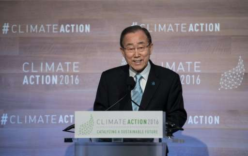 UN Secretary-General Ban Ki-moon addresses the opening session of the Climate Action 2016 conference in Washington, DC on May 5,
