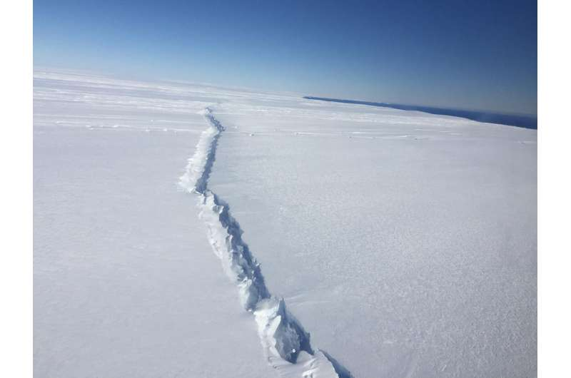 West Antarctic ice shelf breaking up from the inside out