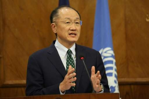 World Bank President Jim Yong Kim holds a press conference with the UN secretary-general, Jordan's foreign minister and planning
