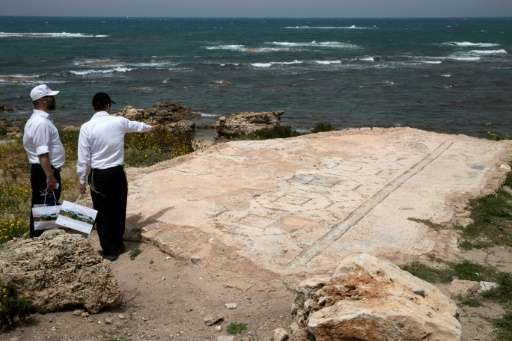 A picture taken on April 26, 2017 shows part of an ancient synagogue in the Roman-era town of Caesarea on the Israeli coast