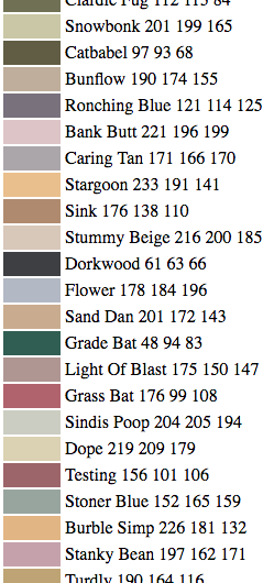 Attractive names of paint colors as delivered by a neural network