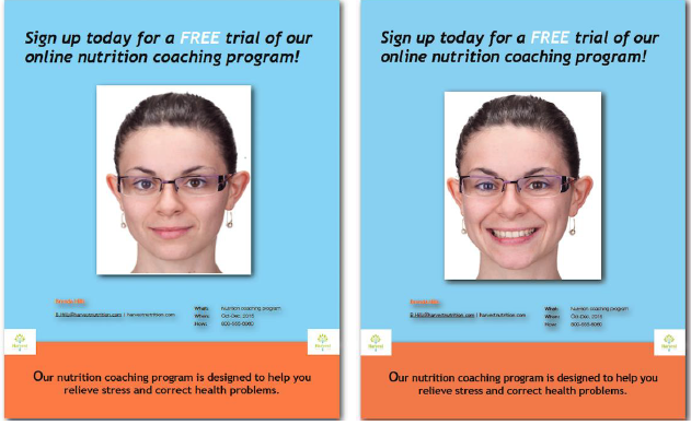 Don't smile too big to be effective in online marketing ads, study funds