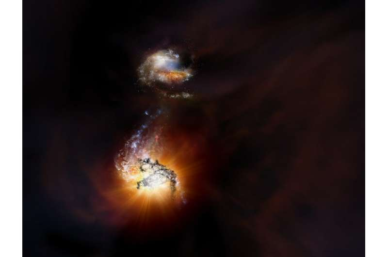 Duo of titanic galaxies captured in extreme starbursting merger