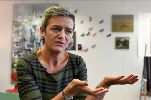 EU Commissioner of Competition Margrethe Vestager,  seen at her Brussels office this month, spoke at a Washington forum on Monda