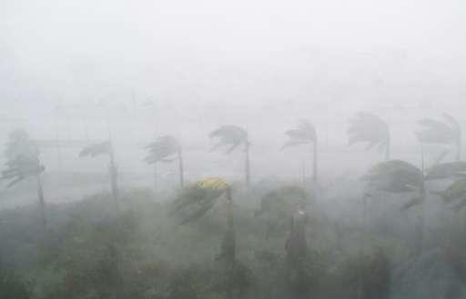 Heavy winds and rain from Hurricane Irma in Miami, Florida on Sunday
