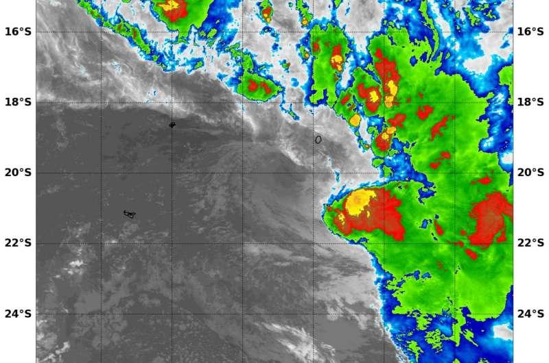 NASA's Aqua satellite spots development of Tropical Storm 14P in South Pacific Ocean