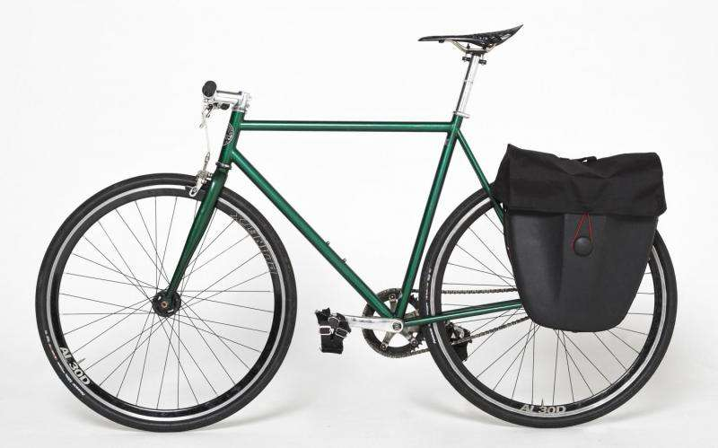 Recycled office chairs transformed into hard-shell backpacks and bicycle panniers