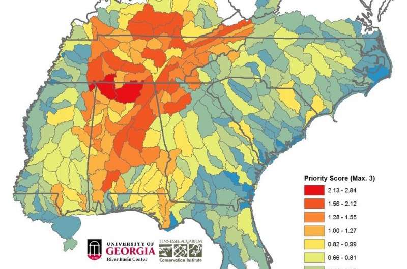 Study identifies the Southeast's most diverse and imperiled waterways