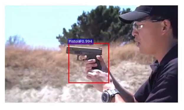 Artificial intelligence-based system warns when a gun appears in a video