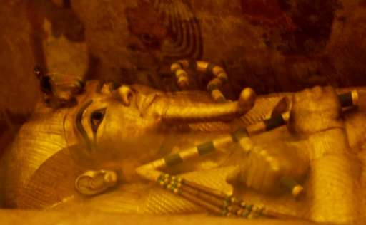 A picture taken on April 1, 2016, shows the golden sarcophagus of King Tutankhamun displayed in his burial chamber in the Valley
