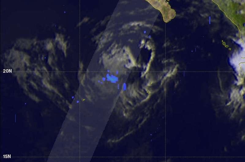 NASA observes Tropical Storm Dora dissipating rapidly