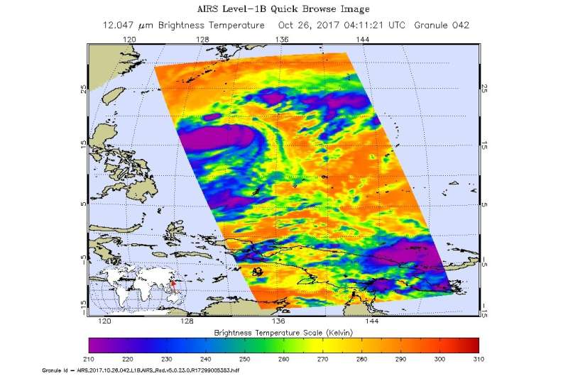 NASA finds winds shear still affecting Tropical Storm Saola