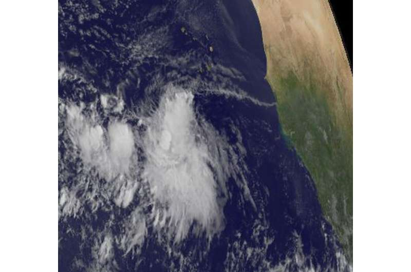 Satellite sees Atlantic Tropical Depression 14 forms off Africa's west coast