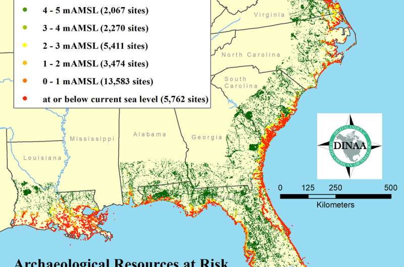 Sea-level rise predicted to threaten >13,000 archaeological sites in southeastern US