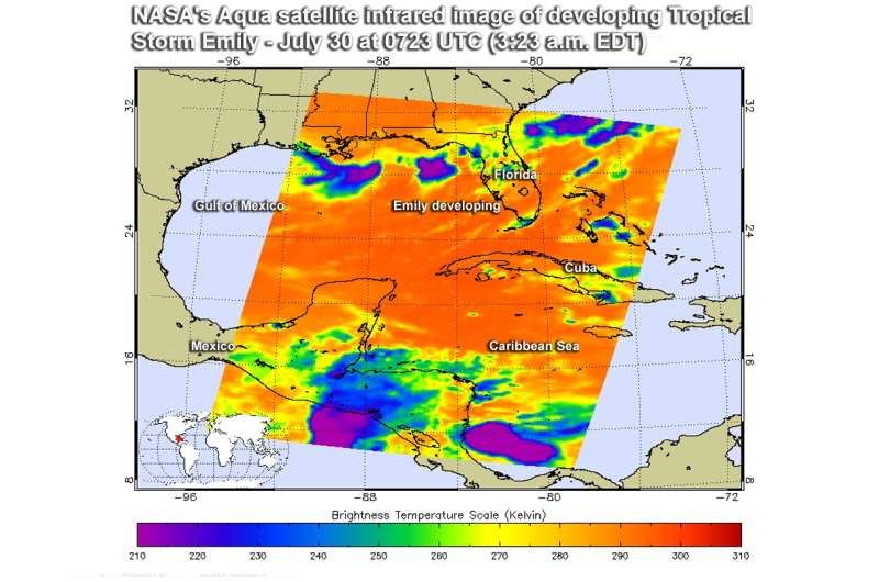 NASA sees Tropical Storm Emily before and after landfall