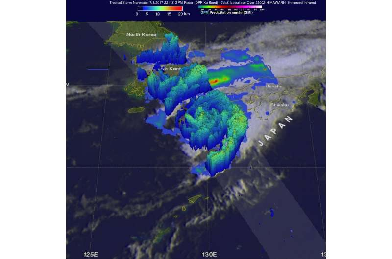NASA measures Tropical Cyclone Nanmadol's Japan rainfall rates